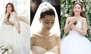 Sao Hàn đẹp lung linh khi diện váy cưới, dù hàng hiệu hay bình dân