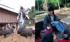 Hoa hậu Tiểu Vy ngồi công nông lên bản làm dự án nhân ái