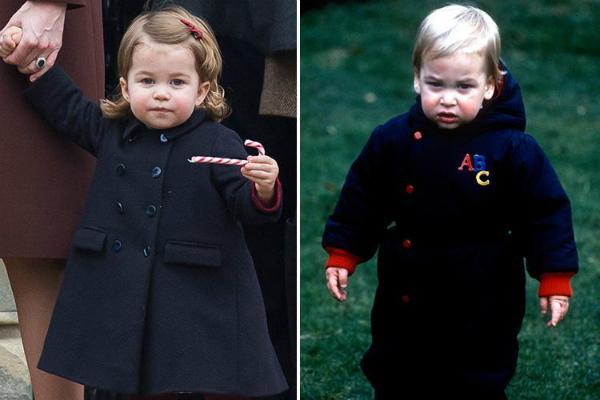 Bức ảnh chụp Charlotte vào ngày Giáng sinh năm 2016 và bố của cô bé khi đangtrong khu vườn của Điện Kensington vào tháng 12/1983.