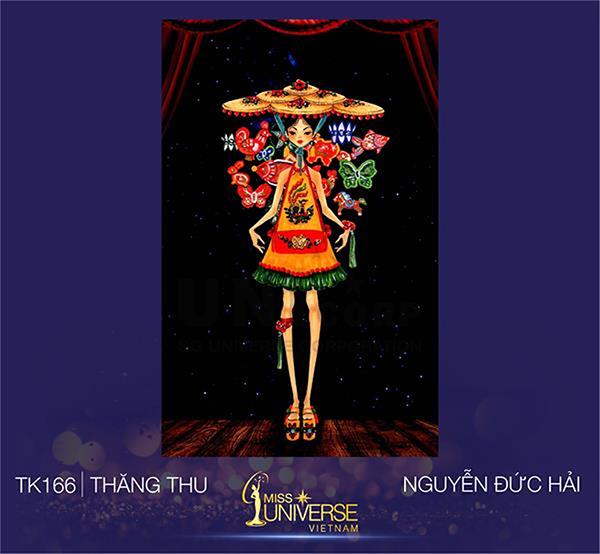 Thăng thu của tác giả Nguyễn Đức Hải với thiết kế váy yếm ngắn đính đèn lồng mang đến hình ảnh của một cô rối nước đáng yêu, đầy mới lạ. Các hình ảnh trang trí đậm chất truyền thống dân tộc được sử dụng hiệu quả, tuy nhiên phom dáng trang phục vẫn có phần đơn giản