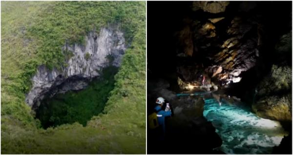 Hố sụt Nongle dài hơn 200 mét, rộng 100 mét và sâu 118 mét, theo CCTV.