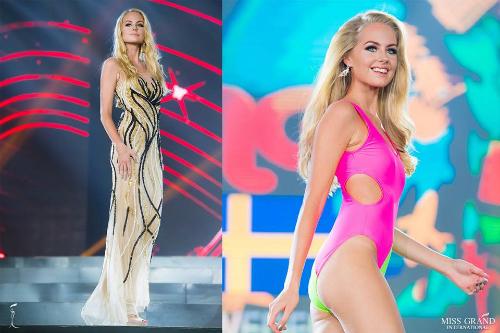 Đứng thứ 10 trong danh sách là người đẹp Thụy Điển. Cô năm nay 21 tuổi, cao 1m76 và là người mẫu chuyên nghiệp. Trước đó, cô gái này từng đại diện nước nhà tham dự Hoa hậu Thế giới 2017 và lọt top 40.