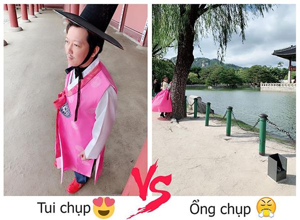 Nhã Phương khiến fan thích thú khi khoe hình trong chuyến đi trăng mật ở Hàn Quốc. Nữ diễn viên chụp ông xã lùn một mẩu nhưng vẫn tự hào khen đẹp, trong khi đó chê bai Trường Giang chụp ảnh không có tâm cho vợ.