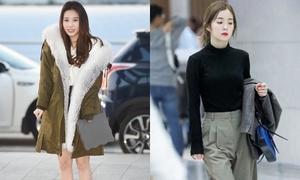 Yura run rẩy vì thích khoe chân, Irene gây sốt với tạo hình ở sân bay