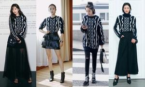 Mỹ nhân Hoa ngữ biến hóa khôn lường khi diện chung áo len