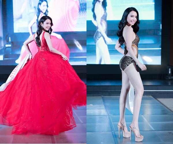 Huỳnh Vy trong phần thi bikini và dạ hội.