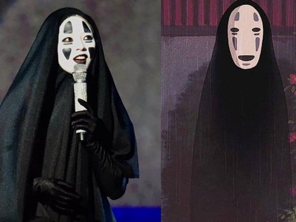 Jeong Yeon dễ thương khi hóa thân thành Vô Diện trong phim hoạt hình Spirited Away.