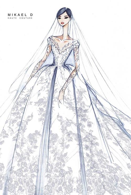 So với bản phác thảo, váy cưới của Đường Yên khi bước ra đời thực lung linh không kém cạnh.