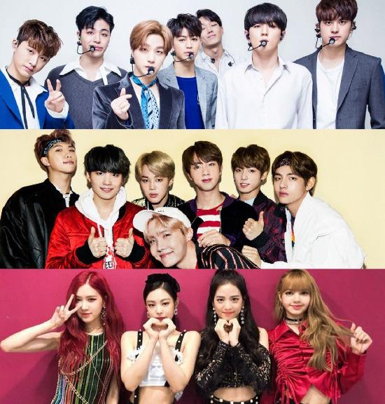 iKON, BTS và Black Pink đều có ca khúc hit với độ phổ biến rộng rãi.