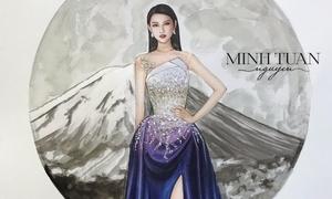 Đầm dạ hội Thùy Tiên ở Miss International lấy cảm hứng về núi Phú Sĩ