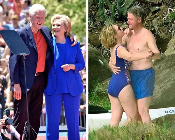 Bill và Hillary Clinton khiêu vũ trên bãi biển vịnh Magens, thuộc quần đảo Virgin.