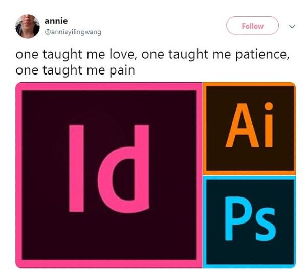 Từdùng các biểu tượng của InDesign, Illustrator, Photoshop...