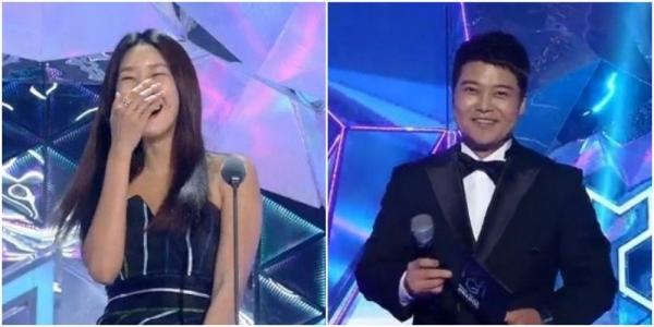 Cặp đôi Jun Hyun Moo và Han Hye Jin thảnh thính nhau trên sân khâu là tình huống đáng yêu của MGA 2018.