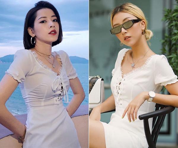 Tuy diện cùng một món đồ nhưng Chi Pu thường mang đến cảm giác đáng yêu, gợi cảm kiểu idol Hàn, trong khi đó Quỳnh Anh Shyn lại sắc sảo và hiện đại giống phương Tây. Chiếc váy trắng này được cả hai sắm từ một thương hiệu bình dân Việt với cách mix phụ kiện khá giống nhau.