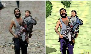 Họa sĩ Bangladesh vẽ lại 'cái kết hạnh phúc' cho những bức ảnh đau thương