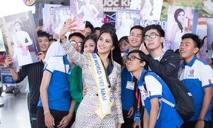 Người thân, fan kéo ra sân bay tiễn Tiểu Vy đi thi Miss World
