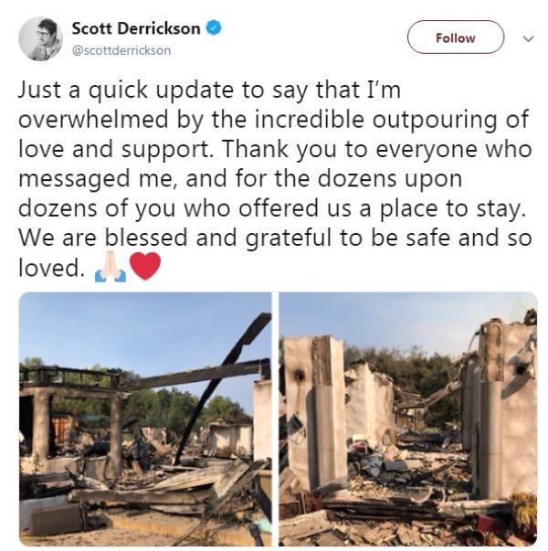 Dù ngôi nhà tại Malibu đã bị thiêu rụi, đạo diễn Scott Derrickson vẫn cảm thấy may mắn, biết ơn vì được bình an.