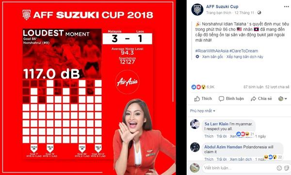 Facebook chính thức của AFF Cup đưa tin về kỷ lục tiếng ồn đến từ CĐV Malaysia tại AFF Cup 2018.