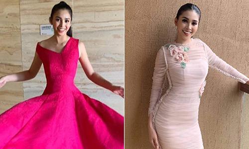 Tiểu Vy diện đồ màu hồng 'không biết chán' khi thi Miss World