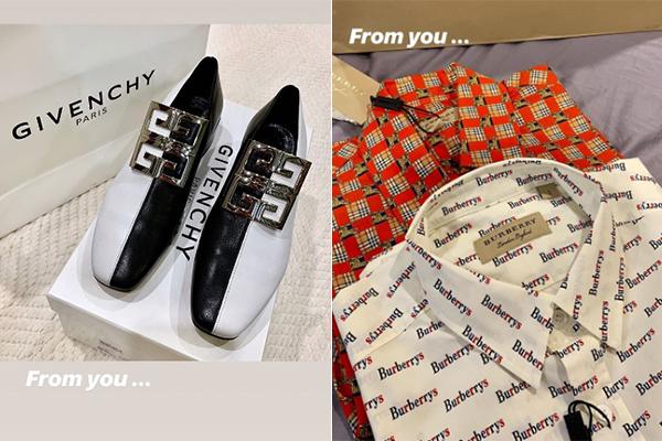 Đôi giày hai màu độc đáo của Givenchy với giá hơn 20 triệu đồng cùng cặp sơ mi giá khoảng 11,5 triệu đồng/chiếc là món quà từ một người bí mật, được Kỳ Duyên đề là From you. Nhiều người nghi ngờ đây là quà từ bạn trai giấu mặt của Hoa hậu.