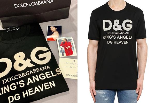 Biết Kỳ Duyên từ trước đến nay chỉ diện toàn áo phông nam, Hà Lade mua tặng cô bạn một chiếc áo phông cho nam giới của Dolce & Gabbana, giá khoảng 5 triệu đồng.
