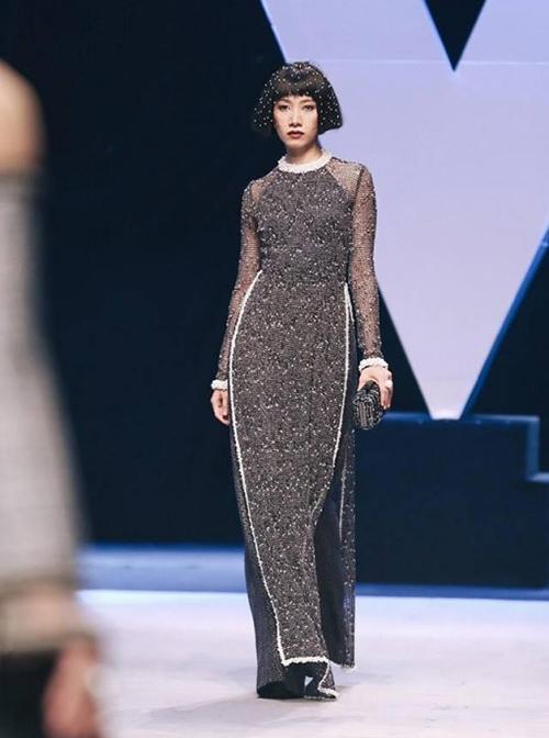 Phan Linh trên sàn diễn Vietnam International Fashion Week Xuân Hè 2018.