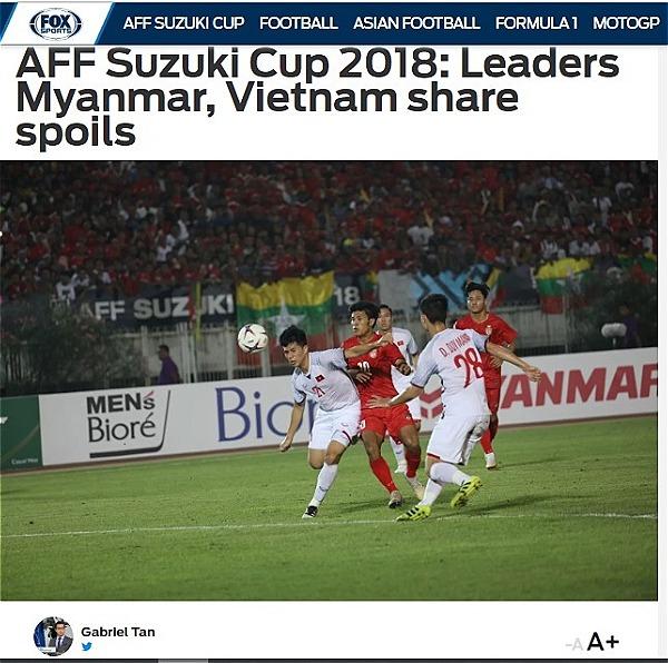 Bài viết về trận đấu giữa Việt Nam - Myanmar trên Fox Sports Asia.