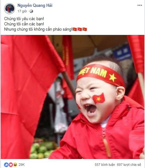 Quang Hải gửi thông điệp nói không với pháo sáng tới fan trên trang cá nhân.