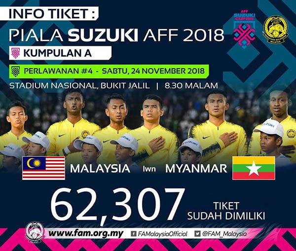 Thông báo về số lượng vé bán ra trên trang chính thứctừ Liên đoàn bóng đá Malaysia.