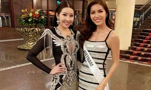 Minh Tú diện váy ngắn đọ sắc vóc với đương kim Hoa hậu Siêu Quốc gia