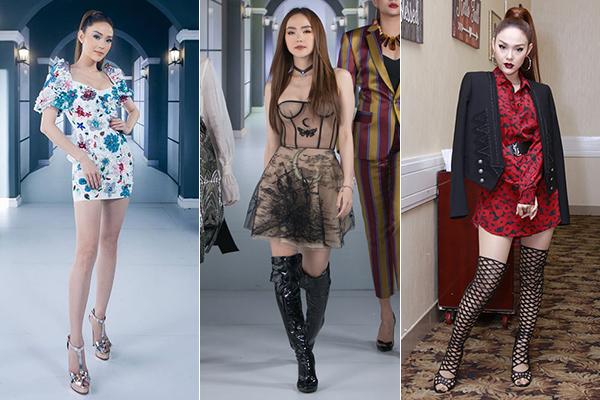 Ở The Face, Minh Hằng biến hóa phong cách rất đa dạng, khi cá tính khi ngọt ngào. Tuy nhiên đôi lúc cô vẫn mắc sai lầm chọn giày chưa tôn được hình thể. Các kiểu boots hay sandals nặng nề có thể khiến thân hình của nữ HLV bị chia khúctrông càng nhỏ bé hơn.