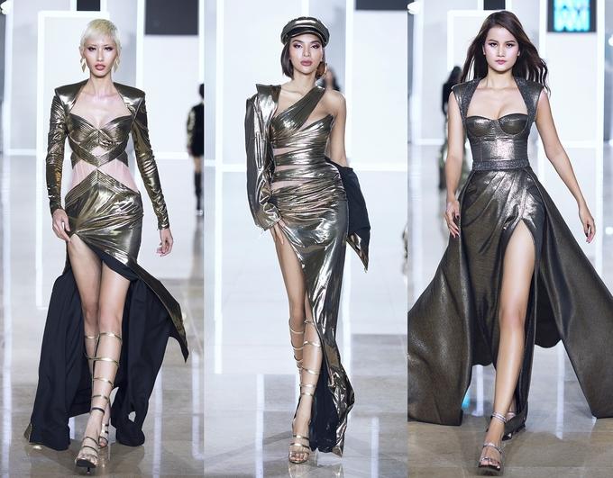 """<p> Chung Thanh Phong sử dụng gam màu metallic đang là xu hướng. Ngoài những sắc vàng ánh kim, bạc ánh kim quen thuộc, BST còn sử dụng những tông màu """"chất chơi"""" như đỏ, hồng, xanh ngọc, xanh dương… Những dáng đầm bodycon gợi cảm hay những chiếc áo body-suits mạnh mẽ với phần độn vai nữ quyền... được các model thể hiện.</p>"""