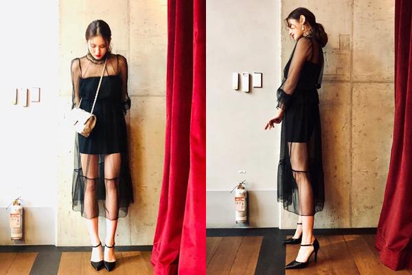 Jeon Somi khoe chiếc váy xuyên thấu gợi cảm trên Instagram.