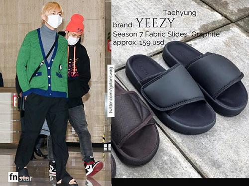 Ngay đến đôi dép lê của anh chàng cũng là sản phẩm của thương hiệu đắt đỏ Yeezy, giá 3,7 triệu đồng.