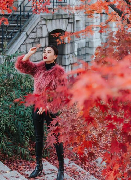 Phương Oanh thích mê khung cảnh ngập tràn lá đỏ của Seoul khi vào đông.