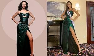 Minh Tú cho thí sinh Guadeloupe mượn váy dạ hội chụp hình