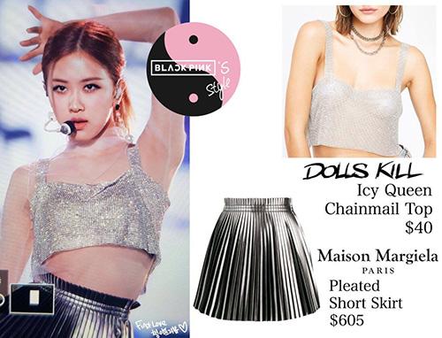 Trang phục của Rosé có giá khá bình dân. Áp giá 931 nghìn đồng, còn chân váy màu bạc thuộc thương hiệu Maison giá 1,4 triệu đồng.