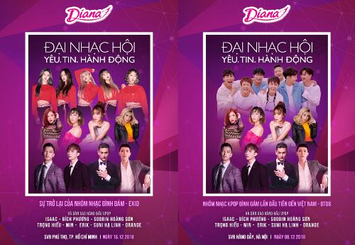 Nghệ sĩ Việt - Hàn góp mặt tại đại nhạc hội của Diana