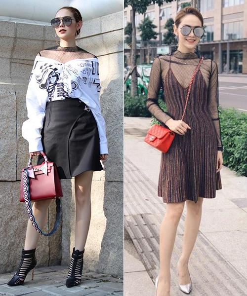 Có tủ đồ hiệu bạc tỷ nhưng Minh Hằng nổi tiếng là người đẹp thích tái chế quần áo. Trang phục cô mua về thường không bị lãng phí vì có thể phối theo nhiều cách khác nhau, không chỉ mặc một lần rồi cất tủ như nhiều ngôi sao khác.