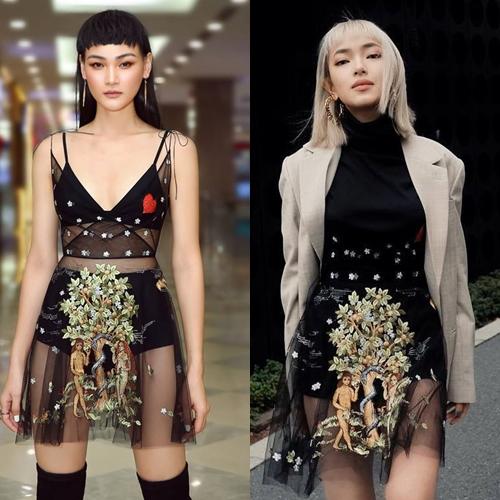 Mặc chung mẫu đầm, cả hai có cách mix & match riêng biệt.