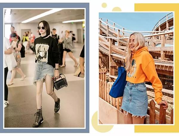 Kiểu kết hợp áo nỉ cùng chân váy jeans mang đến cho các cô nàng vẻ ngoài cá tính, sang chảnh như gái Tây. Khi diện kiểu đồ này, bạn nên chọn cách cắm thùng hoặc mix croptop nỉ cùng chân váy cạp cao để tăng thêm độ chất.