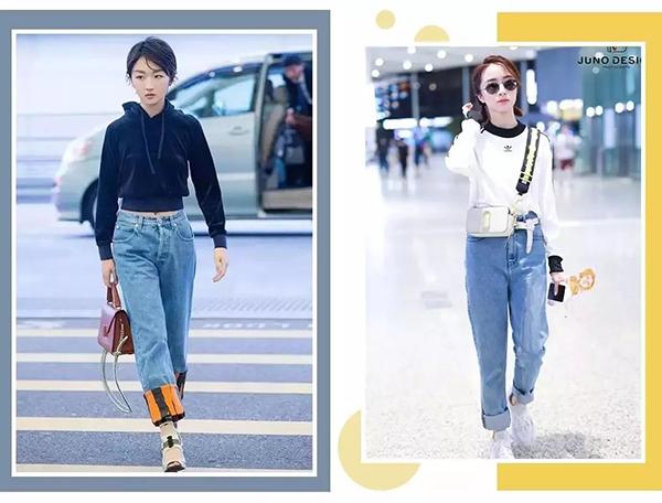 Thay cho các kiểu quần jeans skinny đã lỗi mốt, jeans baggy hay ống đứng là món đồ lên ngôi năm nay. Kiểu quần này trông rất cá tính, lại có thể giấu nhiều nhược điểm đôi chân. Bạn nên mix quần jeans thụng cùng các kiểu áo nỉ vừa vặn, không quá rộng để cân đối tỷ lệ, tránh tạo cảm giác cả phần trên và dưới đều lùng bùng gây dìm vóc dáng.