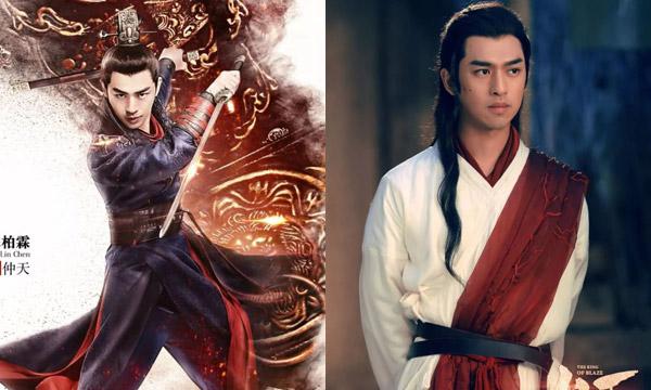 Trần Bách Lâm trong quảng cáo (trái) và trong phim.