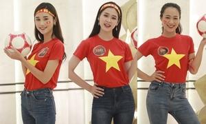 Thí sinh Hoa khôi Sinh viên 2018 cổ vũ tuyển Việt Nam trước giờ G