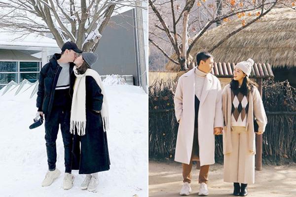 Sự tinh tế trong việc kết hợp thật ít layer nhưng vẫn giữ được sự ấm áp giúp cặp đôi luôn có hình ảnh ngọt ngào như phim Hàn. Phong cách mà cả hai cùng hướng đến là thanh lịch, tối giản, làm điệu bằng phụ kiện.