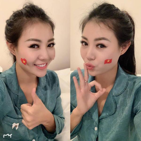 Thanh Hương chúc đội tuyển Việt Nam chiến thắng.