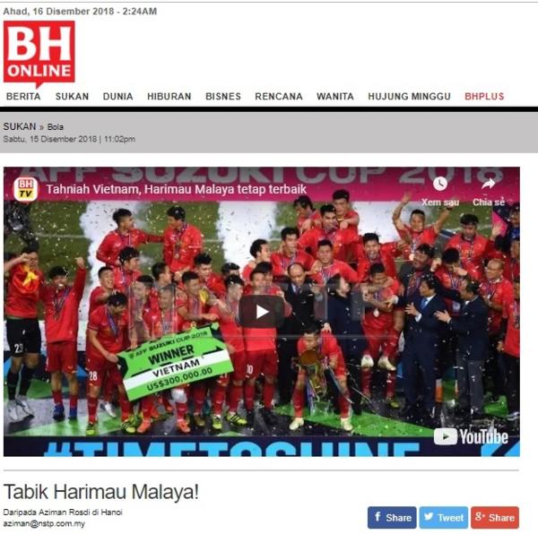Berita Harian có bài động viên các tuyển thủ Malaysia.