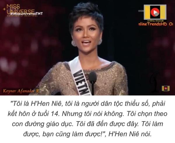 Lời giới thiệu ấn tượng của HHen Niê trong clip giới thiệu khi được xướng tên vào toip 10.