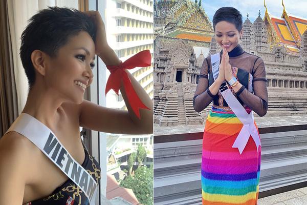 Người đẹp Việt truyền tải nhiều thông điệp ý nghĩa thông qua những bộ cánh khoác lên mình như: thể hiện tình yêu đất nước bằng trang phục màu đỏ, vàng, tôn vinh văn hóa Ê đê bằng những chiếc váy dệt thổ cẩm, ủng hộ cộng đồng LGBT bằng chân váy lục sắc hay thắt ruy băng ở cổ tay để gửi lời động viên cho các bệnh nhân HIV/AIDS.