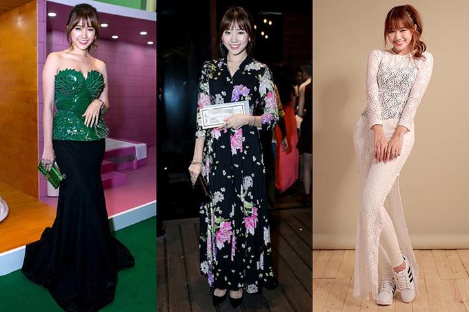 """<p> Trước đây, Hari Won có vóc dáng khá đầy đặn, gu thẩm mỹ thiếu tinh tế. Những lựa chọn sai lầm về trang phục khiến cô nàng lộ nhược điểm, bị """"gọi tên"""" liên tục trong các bảng xếp hạng mặc xấu.</p>"""